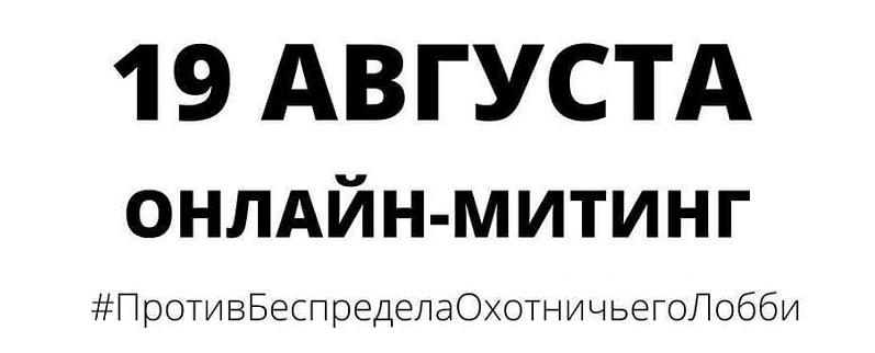 Зоозащитное сообщество России призывает: 19 АВГУСТА СОСТОИТСЯ ОНЛАЙН МИТИНГ ПРОТИВ ЗАКОНОДАТЕЛЬНЫХ ПРИВНЕСЕНИЙ ОХОТНИЧЬЕГО ЛОББИ