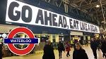 >Гигантский рекламный щит с призывом к вега́нству появился сегодня на самой людной станции лондонского метро